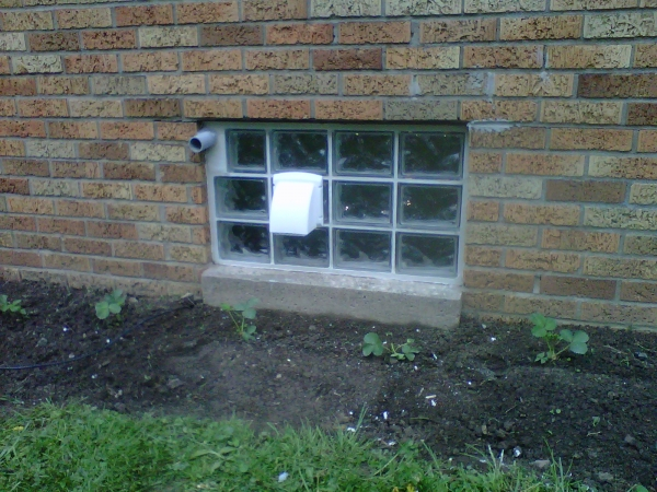 32x18 dryer vented window with a conduit for an extension cord that is run through at certian times of the year.