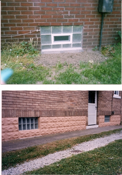 Top photo is a vented Delphi panel, The bottum photo were originally 30x24 inch but we built them up with rock face cement block to match existing foundation. The home owner sent me the pics after he painted the foundation so i could share them with you