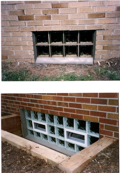 Top photo is a 32x16 gold tone glass block, its like sun glasses for your basement. Bottum photo is a 64x24 double window
